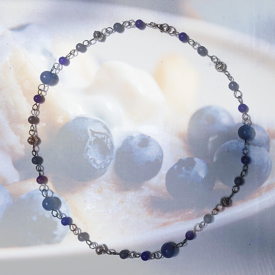 "Blue Quartz Gemstones & Dark Blue Aventurine Gemstones 20"" Necklace"