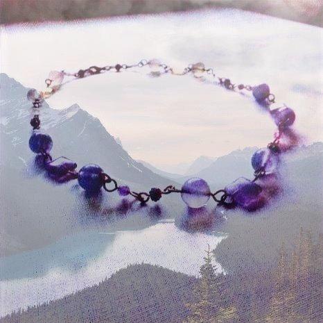 "Purple Fluorite Gemstones 18-1/2"" Necklace"