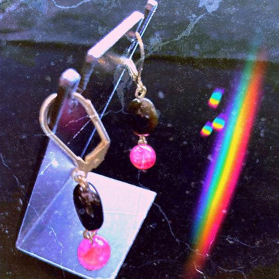 Pink Dragon Veins Agate & Black Onyx Gemstones Dangles Earrings