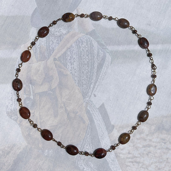 "Brown Pietersite Gemstones 24-1/4"" Necklace"