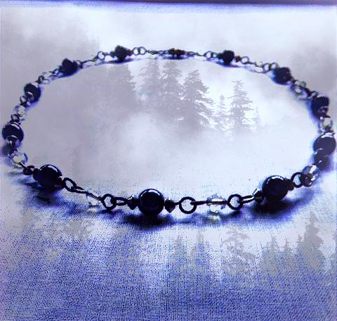 Black Hematite Gemstones & Moonstone Gemstones Necklace