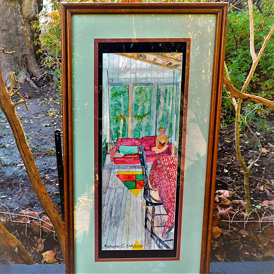 """Boy Reading on Cottage Porch Swing 17-1/2"""" x  33-1/2"""" Watercolor"""