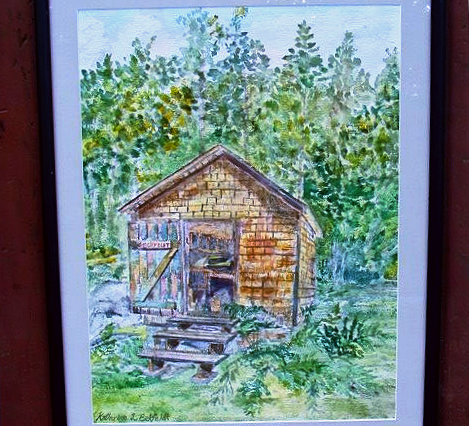 Maine Backwoods Woodshed Watercolor Painting