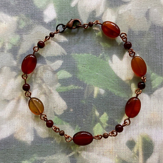 "Red Agates Gemstones 8-1/2"" Bracelet"
