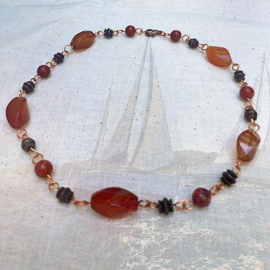 """Swirled Red Agate & Jasper Gemstones 17"""" Necklace"""