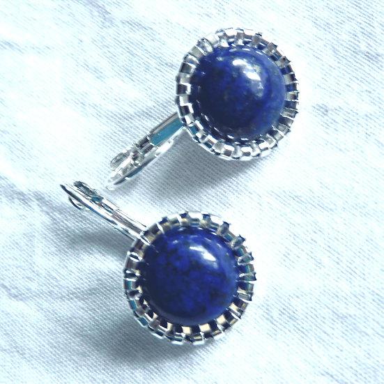 Blue Lapis Lazuli Cabochon Gemstone Earrings