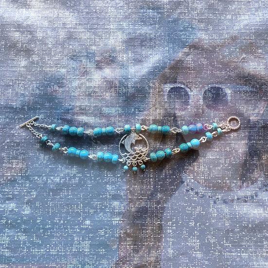 "Blue Turquoise Gemstones Tibetian Silver Dolphin 7-1/4"" Bracelet"