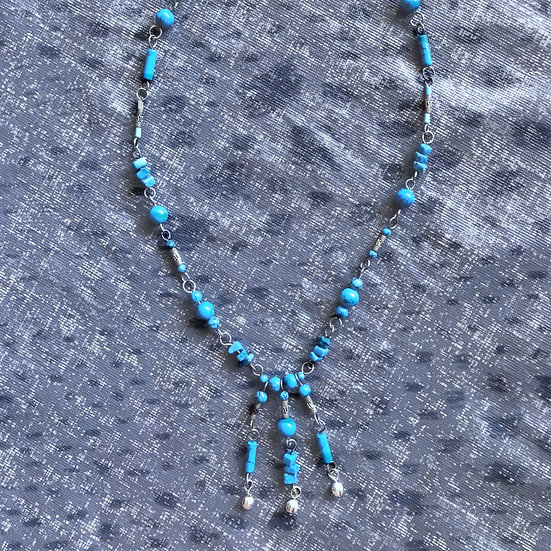 """Blue Turquoise Gemstones silver plated 20-3/4"""" Necklace"""