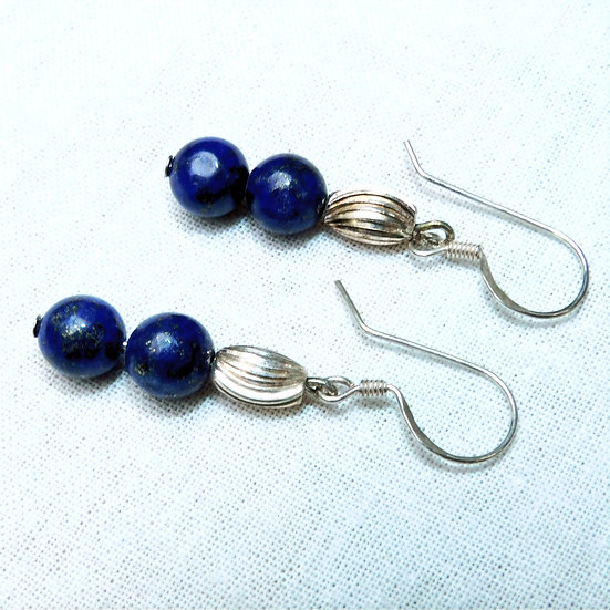 Blue Gold Flake Lapis Lazuli Gemstones Dangles Earrings