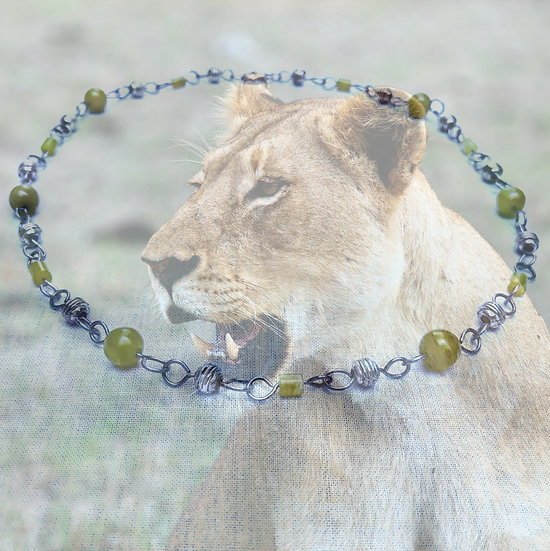"""Russian Jade Gemstones antique silver metal 18"""" Necklace"""