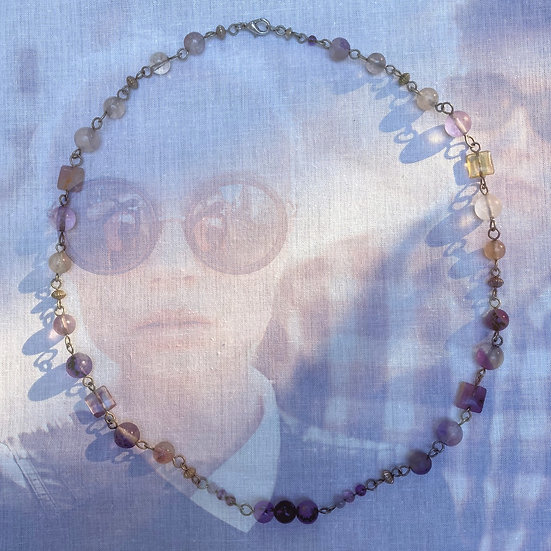 "Purple Fluorite Gemstones 23"" Necklace"