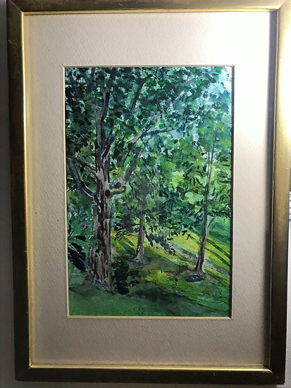 """Trees on Golf Course Hill at Watercolor Matted & 9"""" x 12-1/2"""" Gold Leaf Frame"""