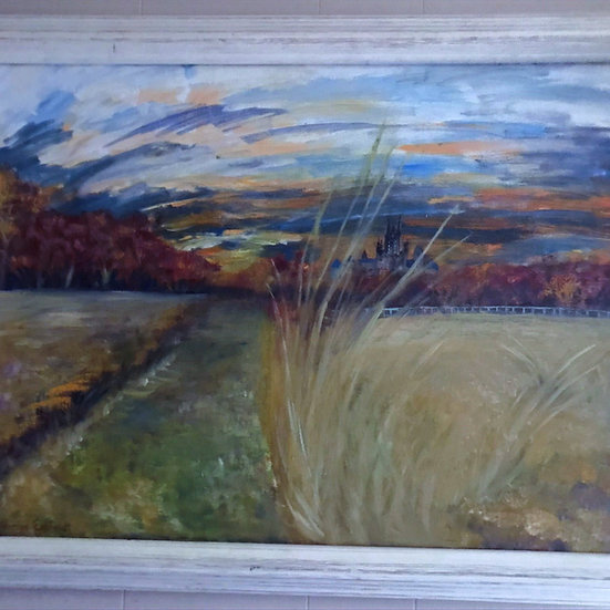 """18"""" x 24"""" Oil Painting of Farmland Creek Road Park & Cathedral"""
