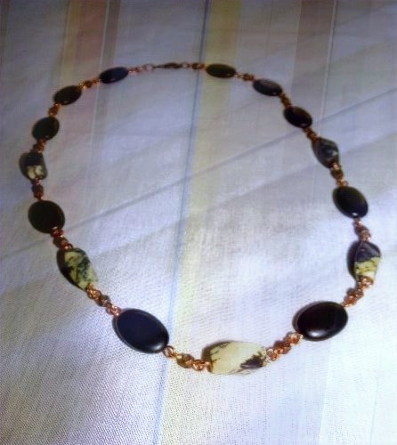 "Yellow & Black Turquoise Gemstones 21"" Necklace"
