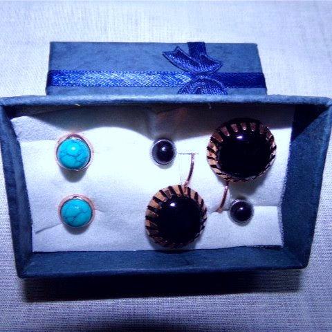 Set of 3 Pairs of Earrings: Black Onyx Gemstones & Blue Turquoise Gemstones
