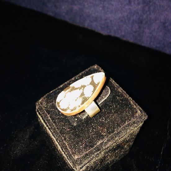 "Black Snowflake Obsidian Gem 925 S/S sz 7; 2.143"" inner circumference Ring"