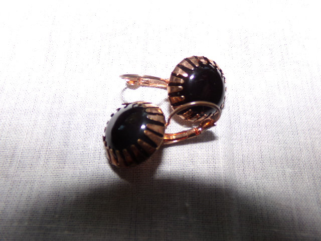 Black Onyx Cabochon Gemstone Earrings