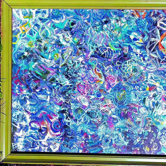 "Network of Light & Time Abstract 20"" X 16"" Acrylic Painting"