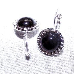 Black Onyx Cabochon Gemstone Earrings