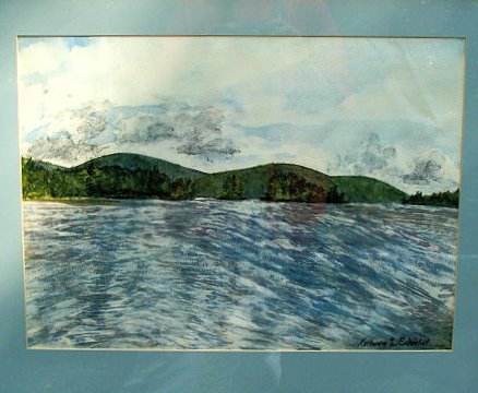Kezar Lake North End Bay, North Lovell, Maine Watercolor Painting