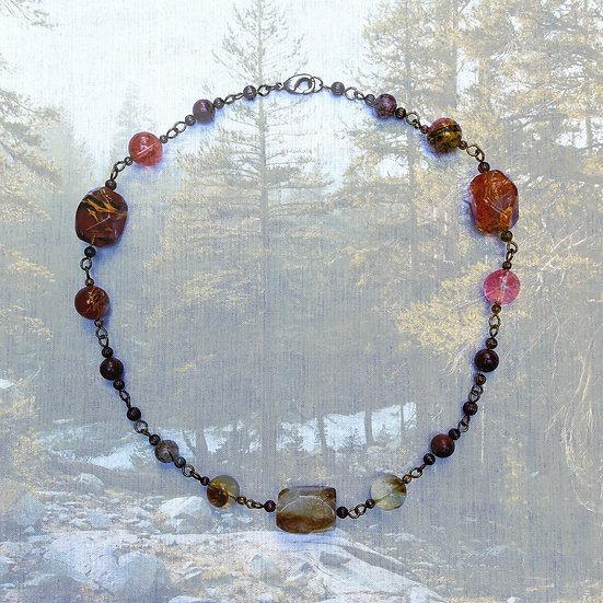 "Red & Tan Agate & Jasper Gemstones 19"" Necklace"