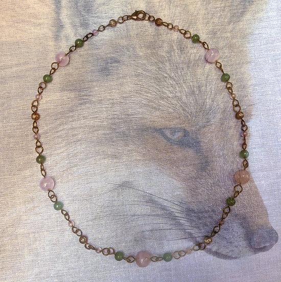 """Rose Quartz Gemstones & Green Jasper Gemstones 21-1/4"""" Necklace"""