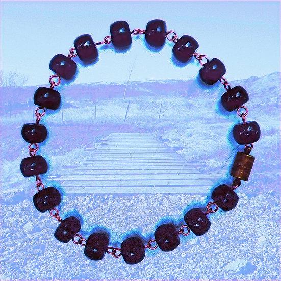 "Black Jasper Gemstones 10-1/4"" Ankle Bracelet"