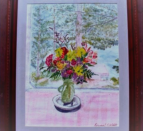 Flowers on Porch Watercolor Painting