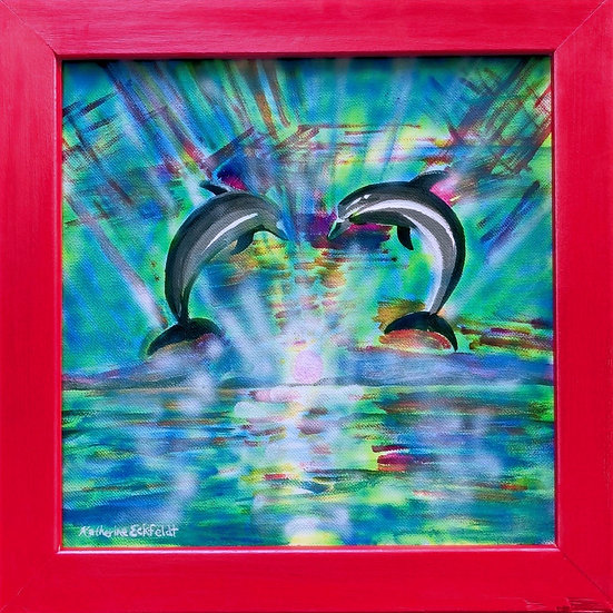 "2 Jumping Dolphins in Setting Sun Acrylic Airbrush 14-1/2"" Square Painting"