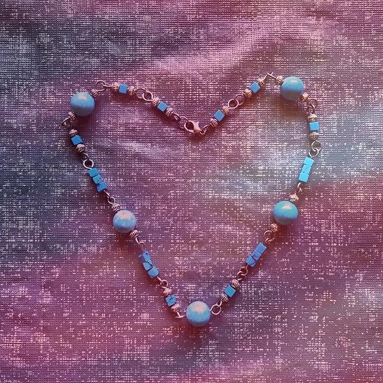 """Blue Turquoise Gemstones 17"""" Necklace"""