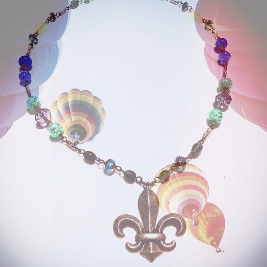 "Onyx Agate Gemstones & Fancy Glass beads Fleur De Lis 22"" Necklace"