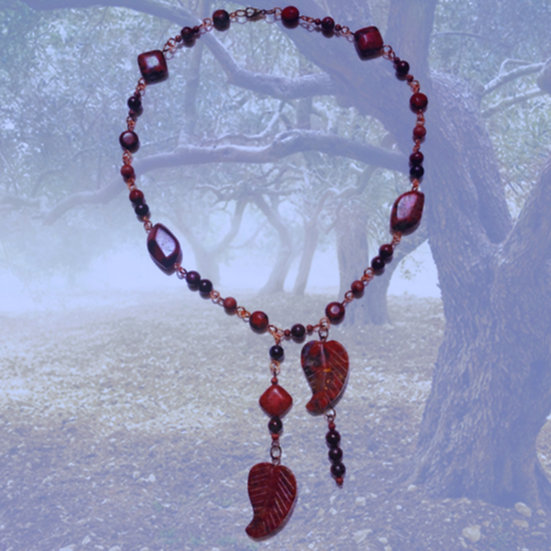 "Red Brecciated Jasper Gemstones 17""+ 5-1/2"" Dangles Necklace"