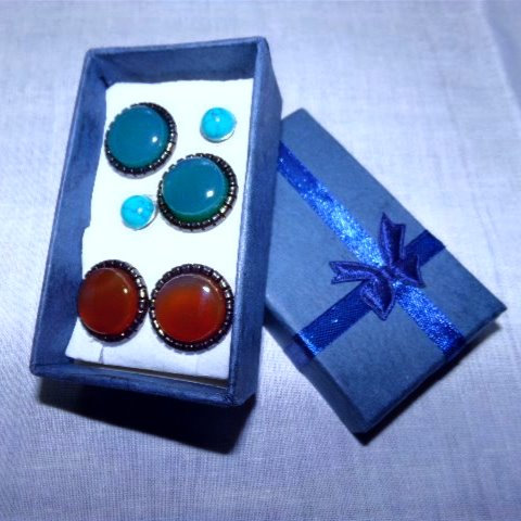 Set of 3 Posts: Green Onyx, Red Onyx, Blue Turquoise Gemstones Earrings