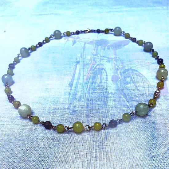 "Green Jade Gemstones 20-1/2"" Necklace"