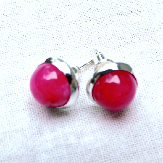 Select Various Hot Pink Cabochon Gemstone Earrings