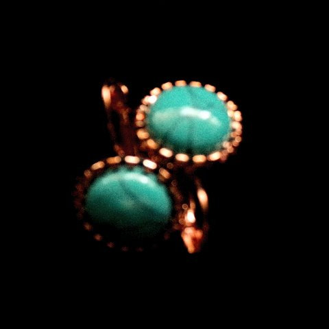Blue Turquoise Cabochon Gemstones Earrings