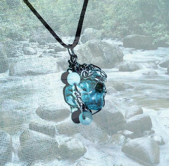 """Green Fluorite & Amazonite Gemstones 16-1/4"""" Choker"""