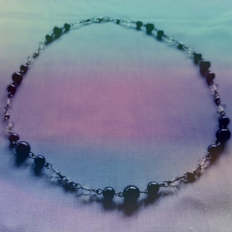 Black Hematite Gemstones & Moonstone Gemstones Necklace