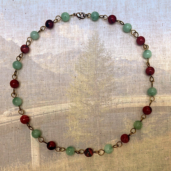 "Green Amazonite & Red Jasper Gemstones 16-1/2"" Necklace"