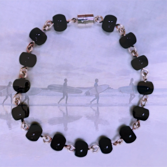 "Black Jasper Gemstones 10"" Ankle Bracelet"