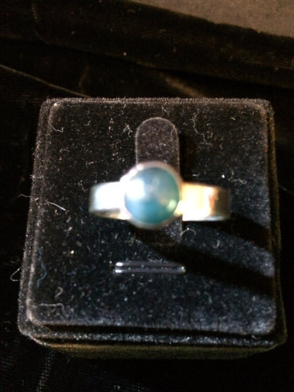 "Green-Blue 2 ct Apatite Gemstone sz 10; 2.444"" inner circumference 925 S/S Ring"