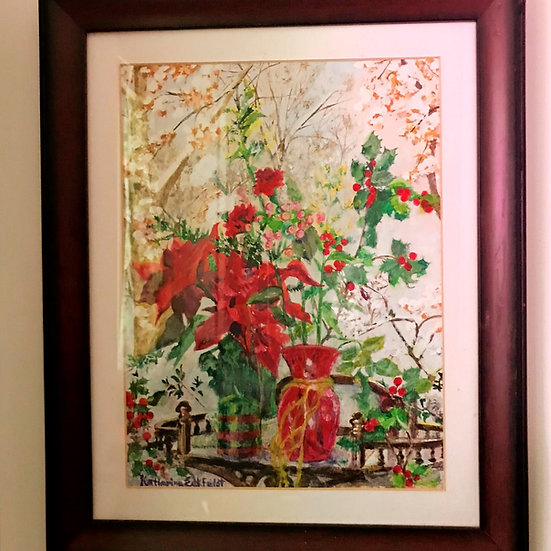 """Holiday Flowers with Snow Scene 9"""" x 12"""" Acrylic Framed Painting"""