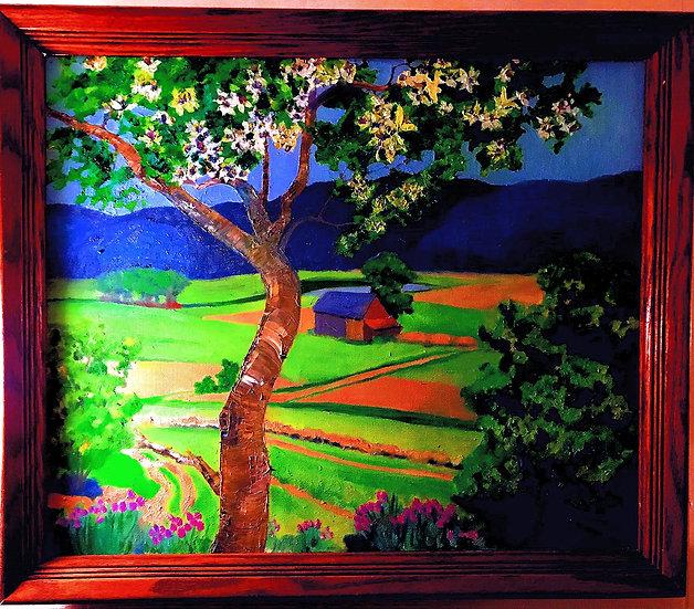 Farm Scene with Flowering Tree & Flowers Oil Painting