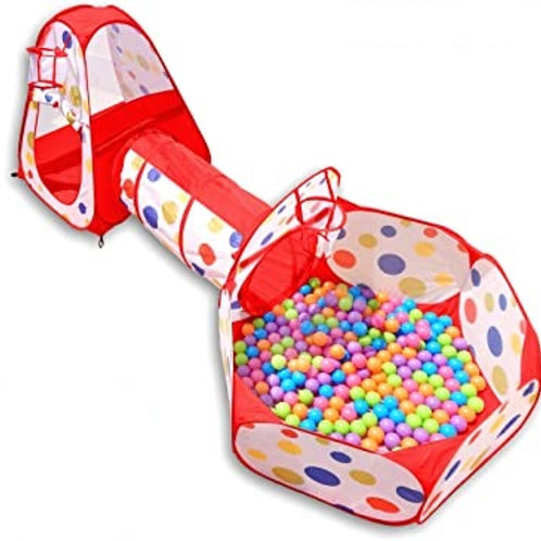 NUBUNI 3pc Kids Play Tent Crawl Tunnel and Ball Pit Pop Up Playhouse Tent with 2