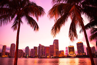 Miami Florida skyline and bay at sunset