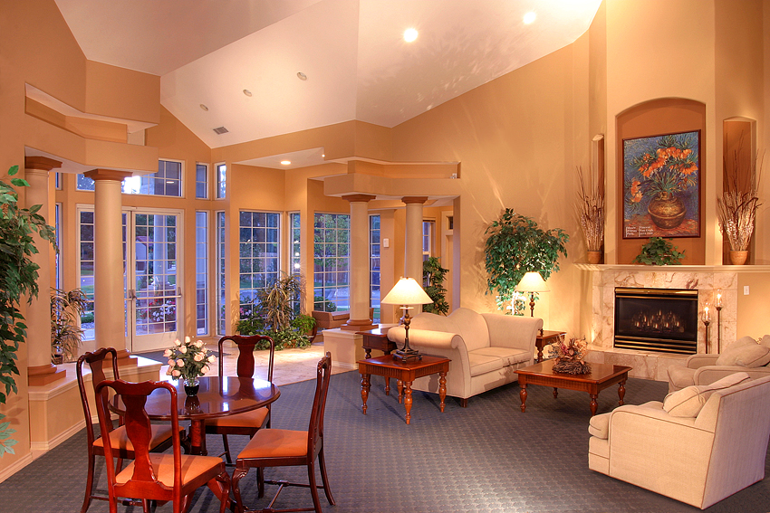 Apartment Clubhouse Interior 3, Dusk
