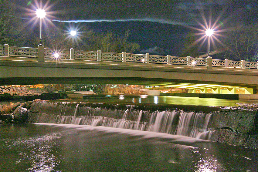 Night Bridge & Flowing Water