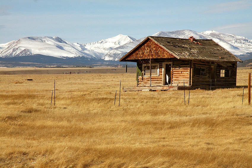 Colorado Landscape, 1800's Cabin