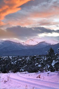 Snowy Winding Road Home, Colorado