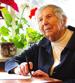 Portrait of 100 Year Old Poet Musing